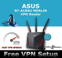 ASUS RT-AC86U MERLIN VPN WIRELESS ROUTER REFURBISHED